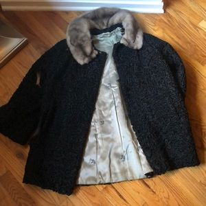 Vintage Persian Paw Coat with Real Mink Collar
